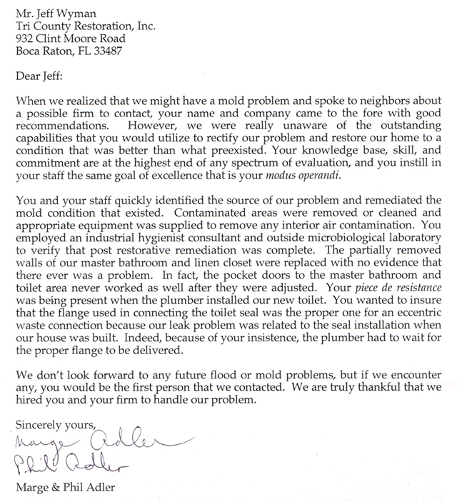 Testimonials  Boca Raton Restoration Contractor  Water Damage